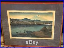 Vintage Yoshimoto Masao Mt. Fuji Hakone Scene Woodblock Print, 16 x 11
