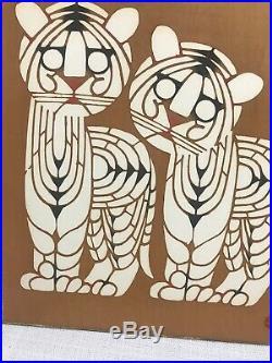 Vtg. 1960s Japanese Mikumo Woodblock Tiger Hand Print-hanga Gallery Kyoto Japan