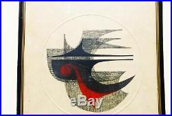 Vtg 1966 Signed Fumio Fujita Abstract Japanese Artist Proof Woodblock Print