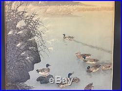 Vtg Antique Ohara Koson Shoson Japanese Woodblock Print Ducks in a Pond Autumn