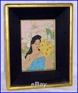 Vtg French/Japanese Small Woodblock Print White Orchids by Paul Jacoulet (Lon)