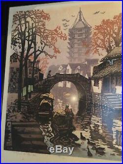 Vtg Japanese Woodblock Print Signed Numbered Framed Canal House Scene