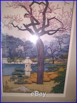 Woodblock Print, PLUM TREE by Toshi Yoshida, Part of Triptych, Teak Frame, Japan