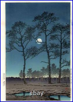 Woodblock print Kawase Hasui Winter Moon Toyamagahara Postprint