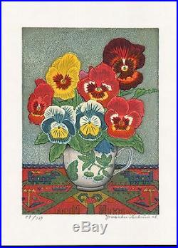 YOSAKU SEKINO Limited Edition Japanese Woodblock Print BLUE PANSY
