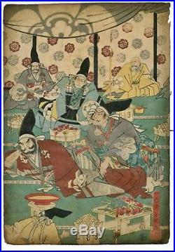 YOSHIIKU ORIG Japanese Woodblock Diptych Print Samurai