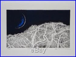 YOSHIKAZU TANAKA Japanese Woodblock Print MOON LIGHT, TREE BRANCH ll (WHITE)