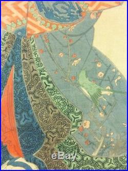 YOSHITORA Japanese Woodblock Print Hanging Scroll Oiran Geisha Bijin 1859 EDO56