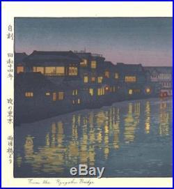 Yoshida Toshi 013901 Ryogoku Bashi Japanese Woodblock Print