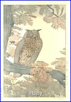 Yoshida Toshi #016801 Mimizuku (Eagle Owl) Japanese Woodblock Print
