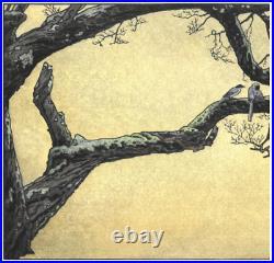 Yoshida Toshi JPlum tree Blue Magpie Japanese Woodblock Print