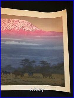 Yoshida Toshi, Kilimanjaro, morning, 1977, original print, japanese woodblock