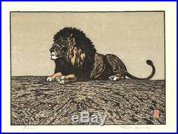 Yoshida Toshi Lion Japanese Woodblock Print