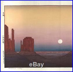 Yoshida Toshi Monument Valley 1971 Japanese Woodblock Print Rare Free shipping