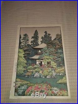Yoshida Toshi Silver Pavilion Kyoto (Ginkaku Ji) Japanese Woodblock Print