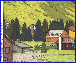 Yoshida Toshi Vail, Colorado 1966 Japanese Woodblock Print Rare Free shipping