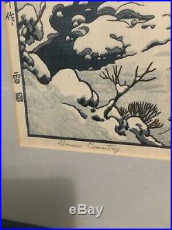 Yoshida Toshi Yukiguni Snow Country 1917 Japanese Woodblock Print Rare F/S