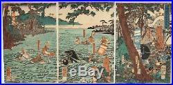 Yoshikazu, Battle of Ujigawa, Samurai, Warrior, Original Japanese Woodblock Print