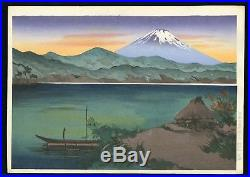 Yoshimoto Masao Original JAPANESE WOODBLOCK PRINT Fuji From Lake Ashi Sun Set