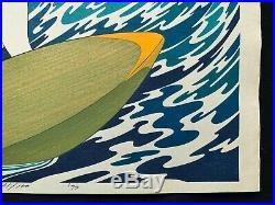 Yoshio Okada Rare 1974 Surfer Girl Original Woodblock Oban Print #61 of 100