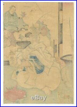 Yoshitora Utagawa, Original Japanese Woodblock Print, Ebisu, Hotei, Lucky Gods